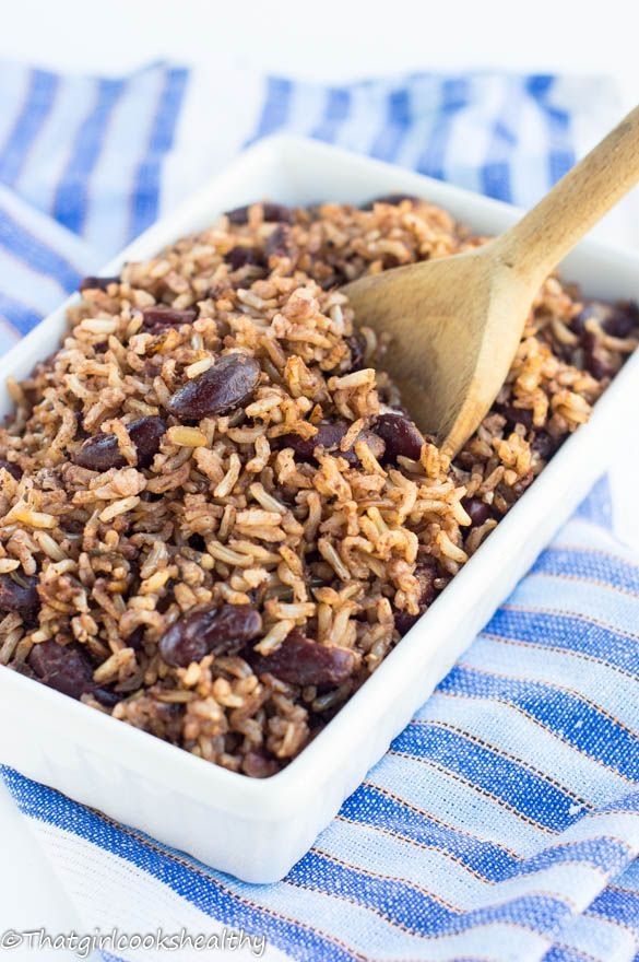Jamaican rice and peas - made using brown rice.