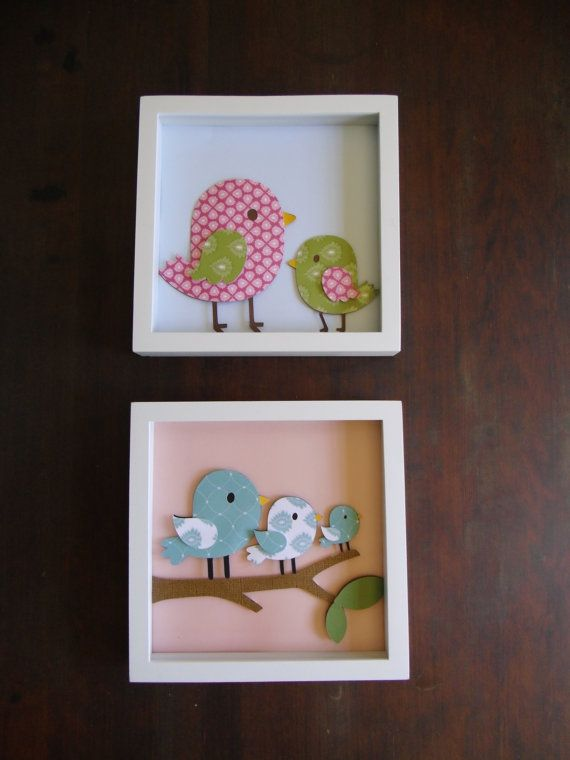Wall Art, Nursery Art, Girls room art, Kids room art, kids wall art, baby nursery, kids decor, girls decor, Set of 2, Birds, Blue, Pink. $30.00, via Etsy.
