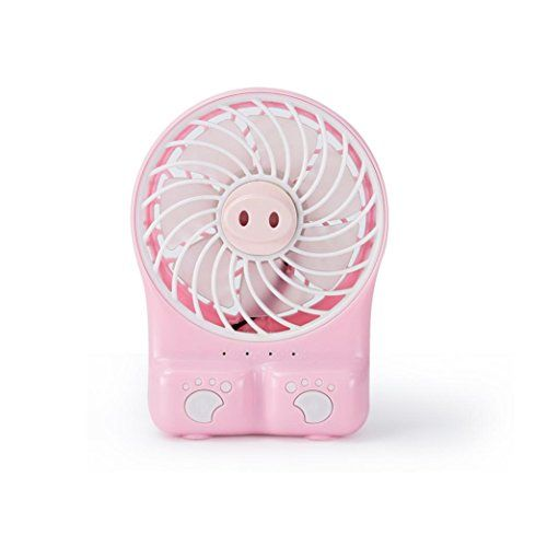 Leegor Portable Rechargeable USB Fan Mini Air Cooler Fan 18650 Battery Perfect For Traveling Office Library (Pink)