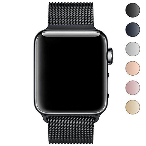 Walcase Fully Magnetic Closure Clasp Mesh Loop Milanese Stainless Steel iWatch Band for Apple Watch Series 3 Series 2 Series 1 - 38mm Black