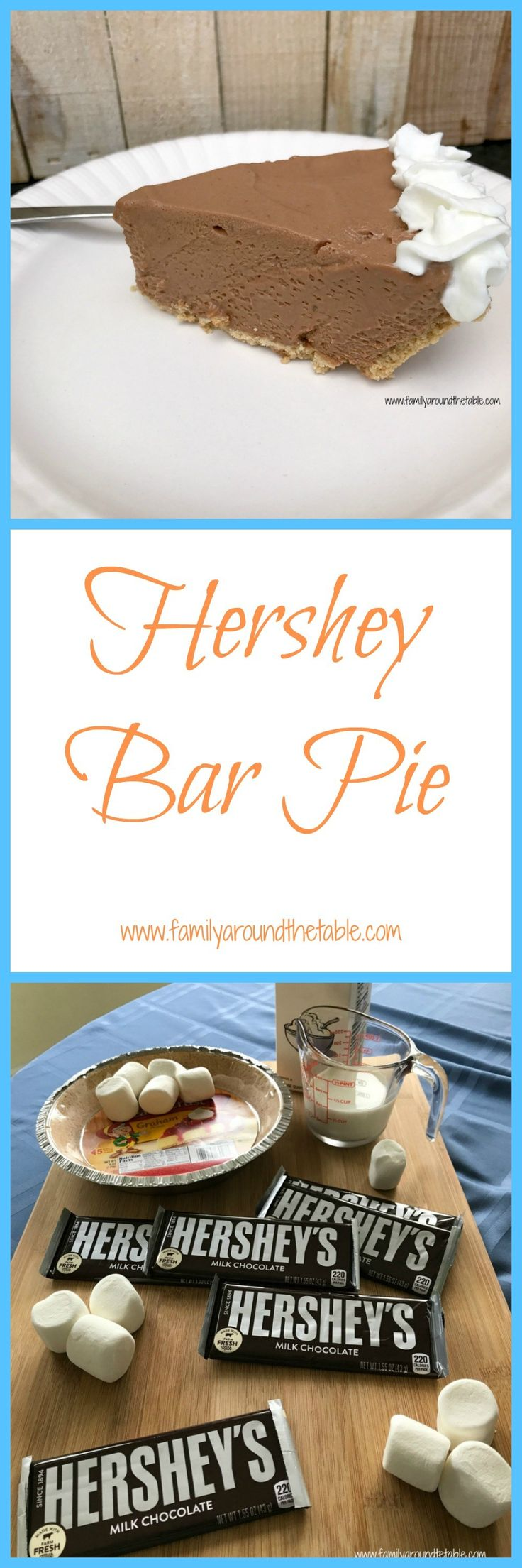 Rich Hershey chocolate mixed with marshmallows and whipped cream in a graham cracker crust makes a for a delicious dessert.