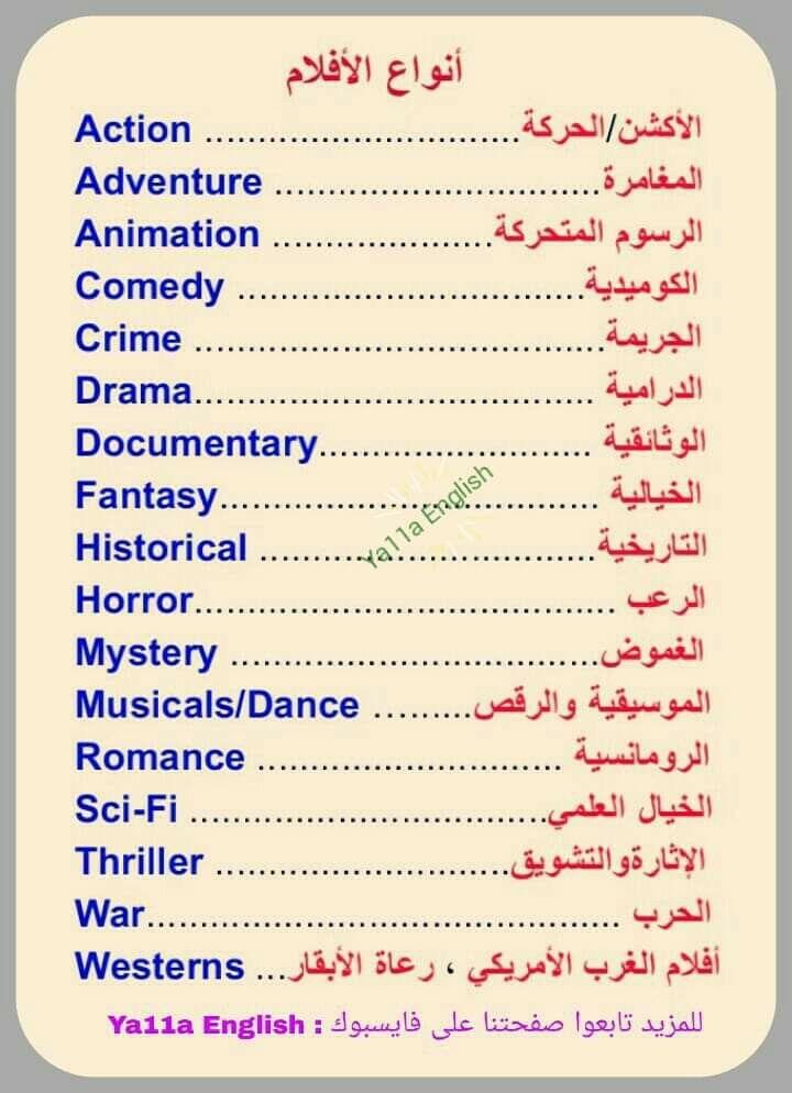 أنواع الافلام باللغة الإنجليزية Thriller Romance Documentaries
