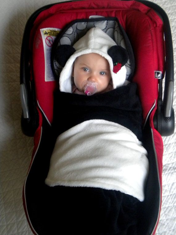 Car Seat Blanket with Panda Bear hood for Infant Car Seat