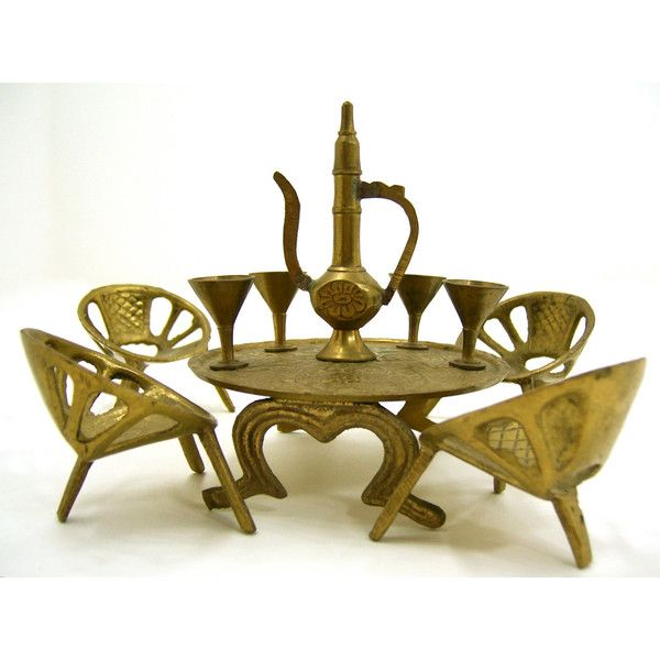 10 piece miniature gold brass set table chairs wine for 10 piece kitchen table set