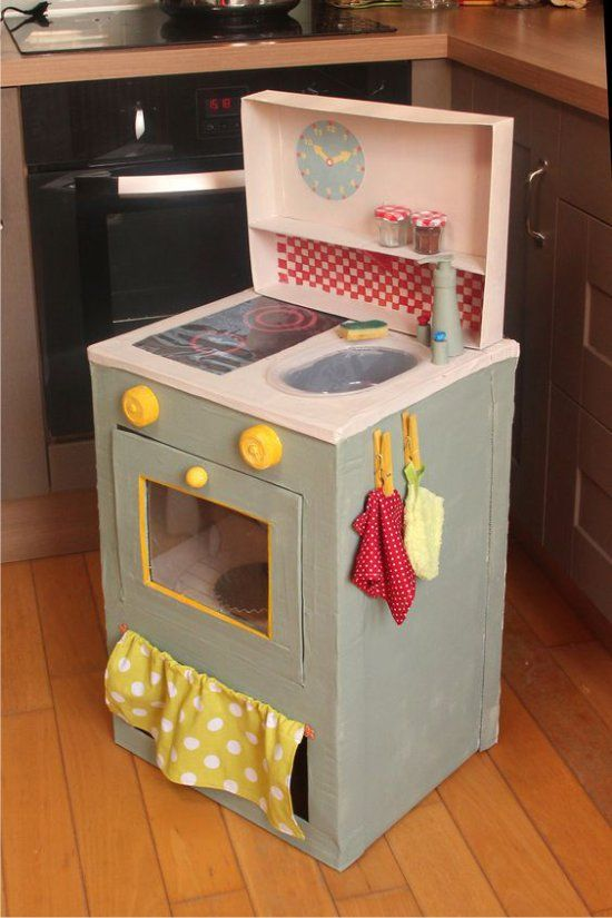 Гифка кухня из коробок для девочек, летний