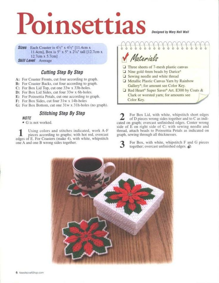 POINSETTIAS *COASTER SET* by MARY NELL WALL 1/2