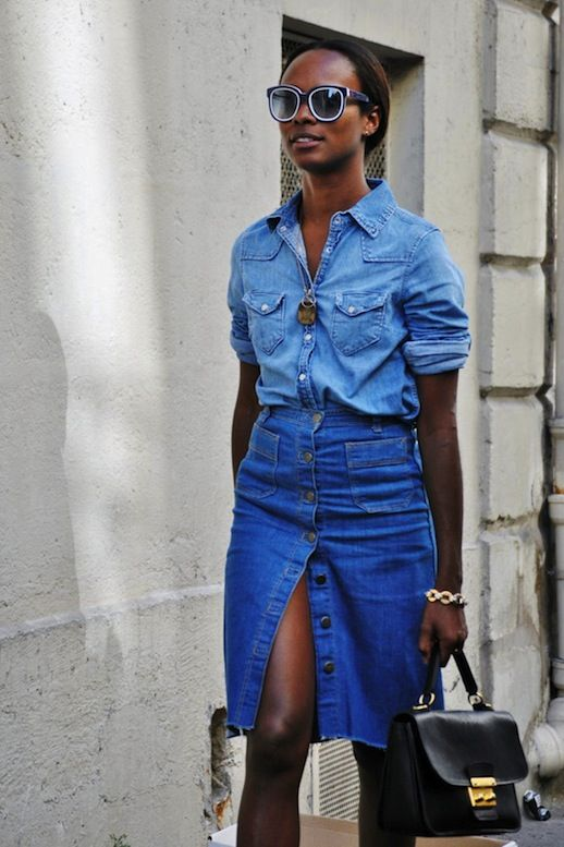 Le Fashion Blog 11 Ways To Wear Denim On Denim Inspiration Street Style High Waist Jean Skirt Via The Street Muse photo Le-Fashion-Blog-11-Ways-To-Wear-Denim-On-Denim-Inspiration-Street-Style-High-Waist-Jean-Skirt-Via-The-Street-Muse.jpg