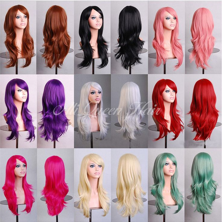 Pink/blue/purple/white/blonde wigs,70CM high quality curly wavy long hair synthetic cosplay wigs