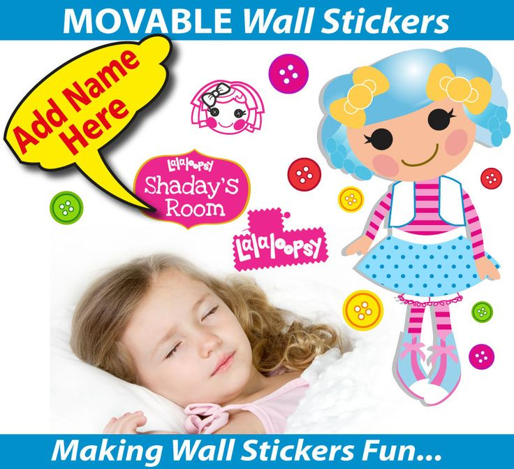 Personalised Lalaloopsy Wall Stickers - Totally Movable, $12.99 (http://www.wholesaleprinters.com.au/personalised-lalaloopsy-wall-stickers-totally-movable/)