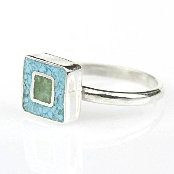 Turquoise geometric rings Cube rings green ringssquare ring Minimalist Modern Jewelry-Eco friendly by JewelleryAsArt now at http://ift.tt/2zXIE1l