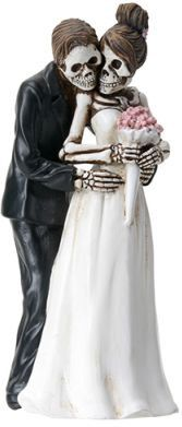 Great Halloween Bride And Groom Pose For Camera True Love Never Dies Gothic Wedding  Cake Toppers