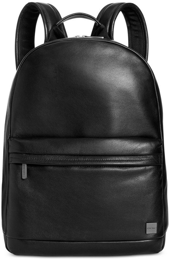 Full-grain leather adds a rich look to this Knomo London backpack, a classic design updated with laptop protection to meet today's needs. An assortment of