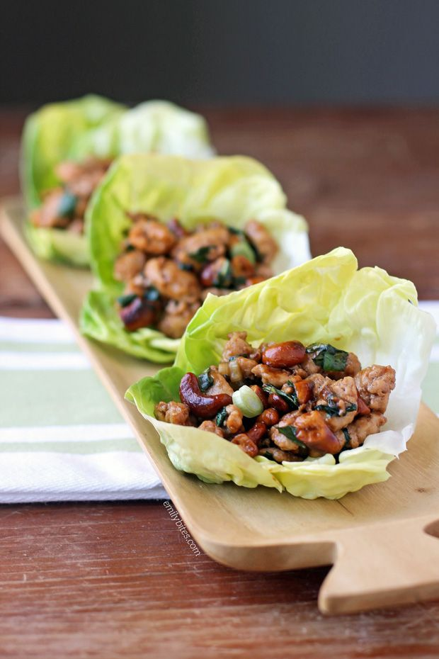 Cashew and Basil Chicken Lettuce Wraps