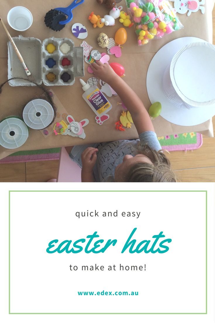 Start with a blank canvas in the form of an accordion top hat, choose your Easter decorations and create until your hearts content. Your kids will be so proud to wear their own creations for this Easter Hat Parade.