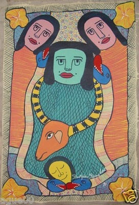 "Prospere Pierre Louis  Primitive Ethnic style  Of the ""Saint Soleil"" (holly sun) school  20 x 30"