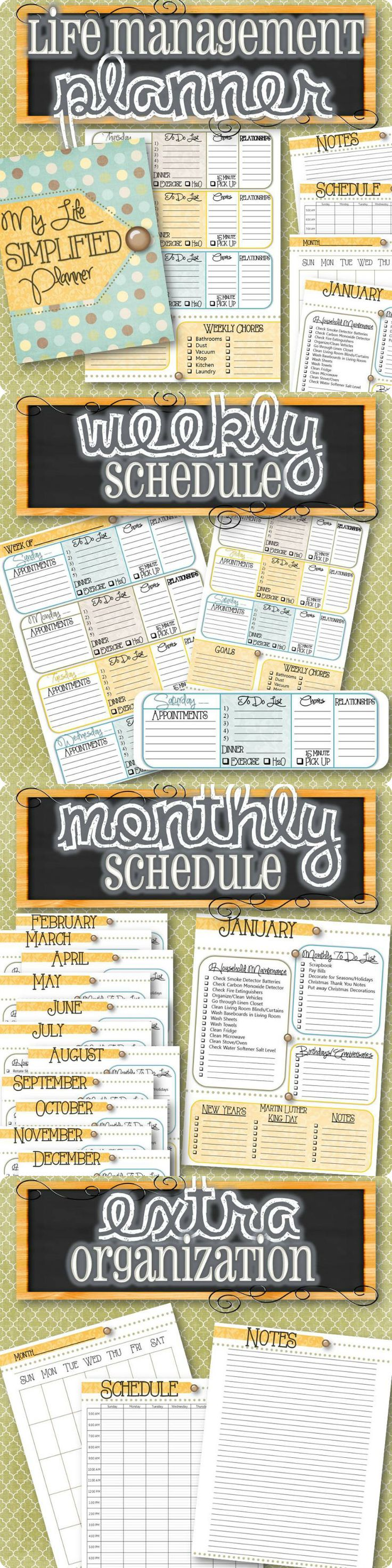 A planner designed to simplify your life! Weekly planning pages to help track Appointments, To Do's, Chores, Menu Planning, Relationships, Exercise, Water Drinking and a Cleaning Schedule! Monthly planning lists to remind you to plan for Holidays, throw out old medicine, clean your blinds, defrost your freezer, rotate clothing, check your smoke detector, remember important birthdays and special occasions, and more! This planner simplifies it all so you stay on track with life's busy…