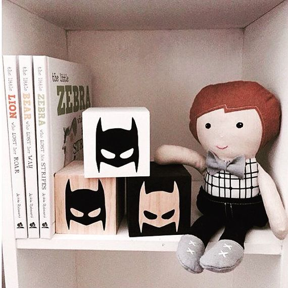 3 piece Wooden Batman blocks by SpunkiiKidz on Etsy