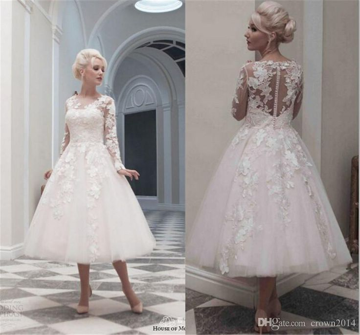 Elegant Long Sleeves Short Tea Length Wedding Dresses 2016 A Line With Applique Modest Scoop Back Covered Button Lace Tulle Bridal Gowns Wedding Dress Hire Wedding Dress Outlet From Crown2014, $138.4| Dhgate.Com
