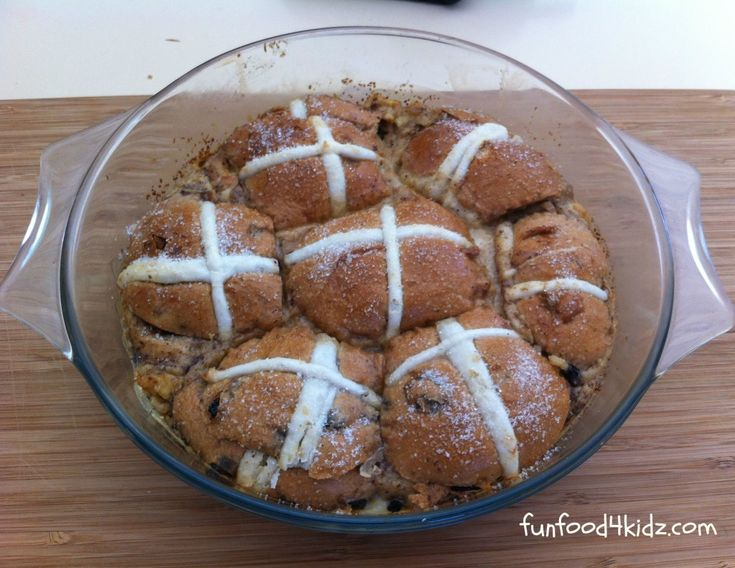 This hot cross bun pudding is an Easter-themed variation on traditional bread and butter pudding.
