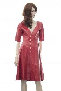 TRUSSARDI červené kožené šaty plášť Pc 44tis. 34 36