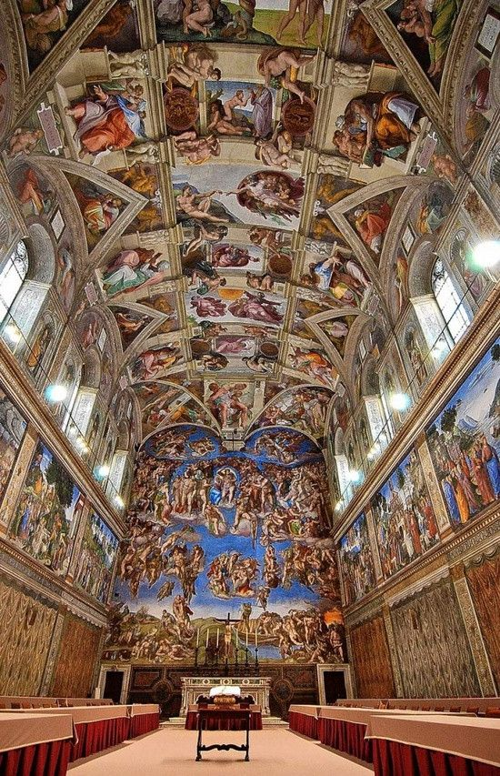 Michelangelo, Sistine Chapel, Vatican City. This is interesting to me because Michelangelo was my project topic, and this shows both the ceiling and the last judgment. The ceiling is a beautiful work of art with great detail. The last judgement even has more detail and it was done 29 years after the ceiling.