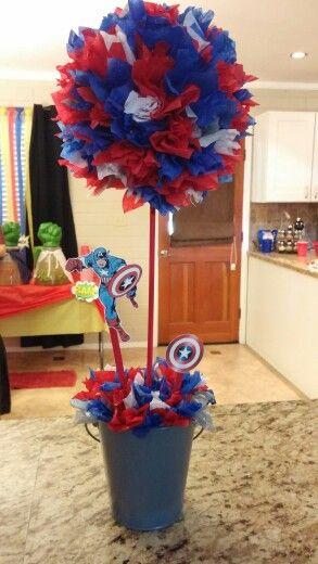 Superhero baby shower Captain America topiary decor