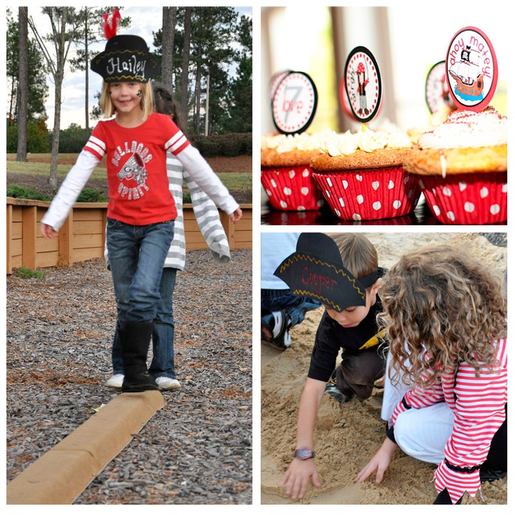 Pirate Party - walking the plank and digging for treasure in the sandbox! Fun!