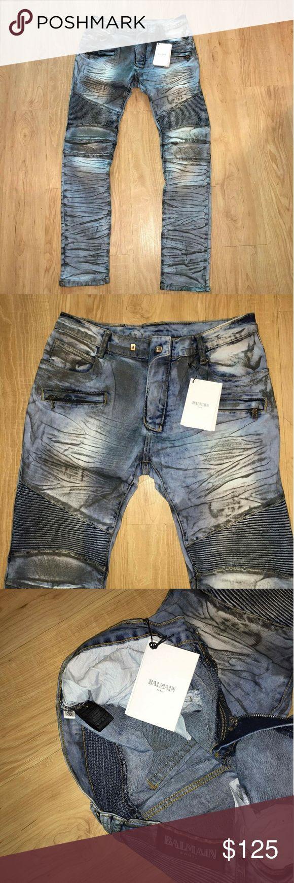 Balmain biker jeans New  Size 32  Fast 2-3 days priority shipping Balmain Jeans Slim Straight