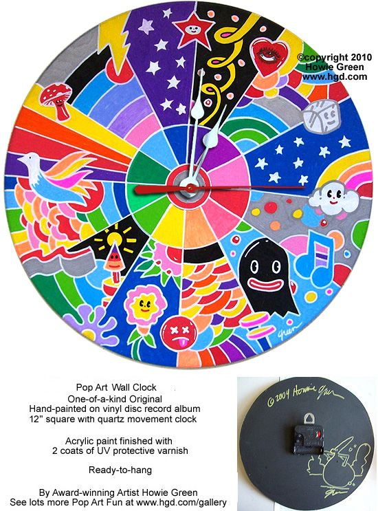 Pop art printed on a 33rpm record and converted to a clock. Description from pinterest.com. I searched for this on bing.com/images