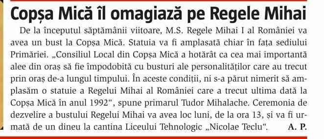 Un bust al Majestății Sale Regele Mihai va fi dezvelit la Copșa Mică luni, 5 mai 2014