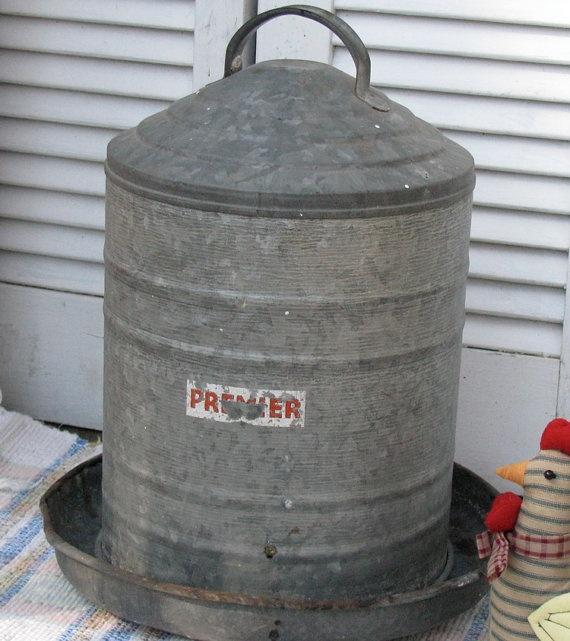 Vintage Chicken Feeder Premier Galvanized 2-piece