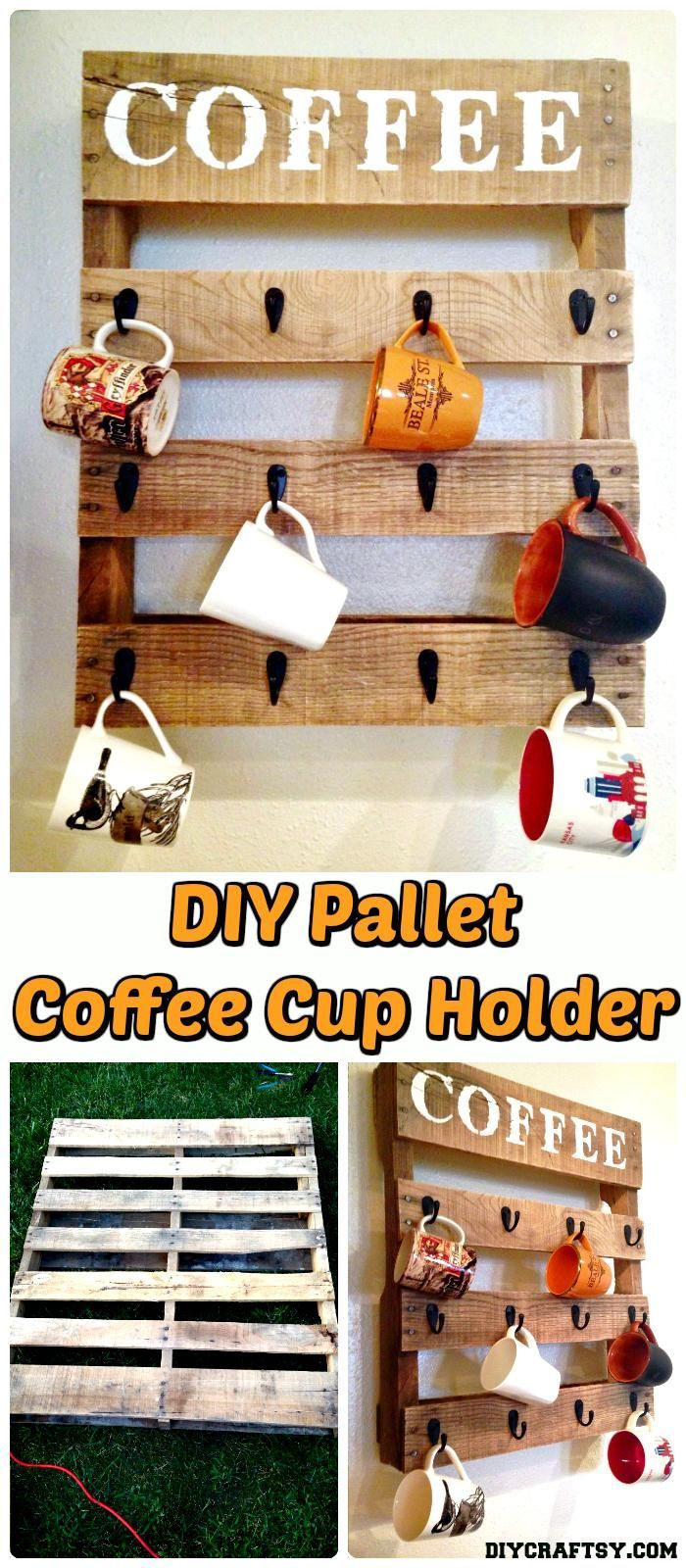 Wooden Pallet Coffee Cup Rack - 150 Best DIY Pallet Projects and Pallet Furniture Crafts - Page 8 of 75 - DIY & Crafts
