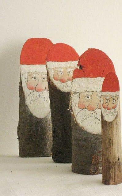 Santas painted on driftwood logs!!! Bebe'!!! Love this idea!!!