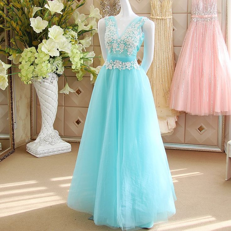 Find More Evening Dresses Information about WB280 A Line Evening Dresses Long Prom Dresses Vestido De Noche V Neck Sleeveless Tulle Applique Lace Blue Long Formal Dresses,High Quality dress hand,China dresses brand Suppliers, Cheap dress boho from Beautydress on Aliexpress.com