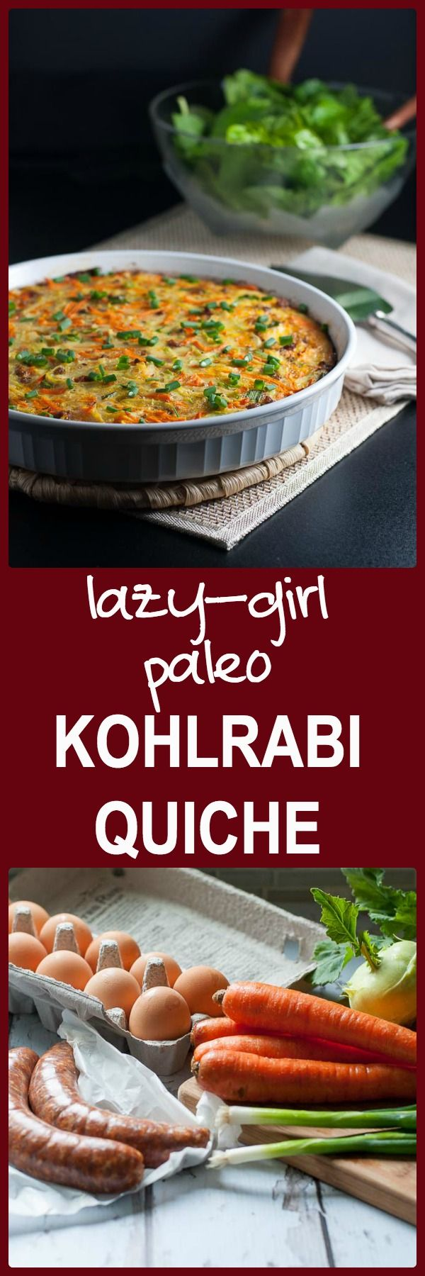 Paleo Kohlrabi Quiche. Quick and easy weeknight meal for those nights when you don't feel like cooking! Packed with protein and healthy vegetables.
