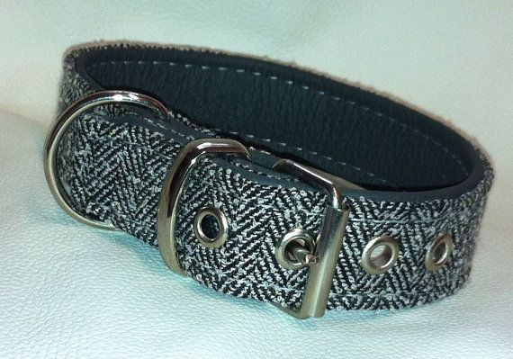 hand made grey tweed style fabric and grey leather by  www.etsy.com/uk/shop/newforestcrafts
