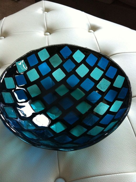 Blue Fused Glass Bowl by SeaShellsGlass on Etsy, $200.00
