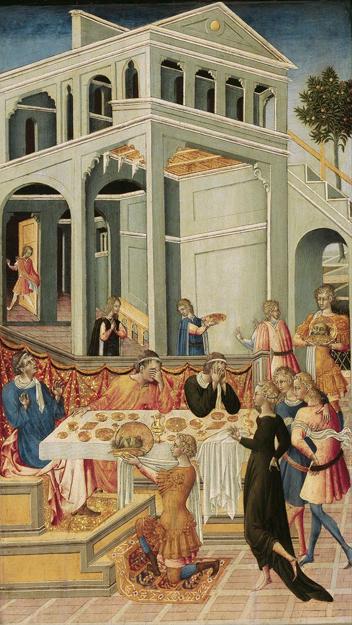 Giovanni di Paolo, Scenes for the Life of Saint John the Baptist, The Head of Saint John the Baptist Brought before Herod, 1455/60