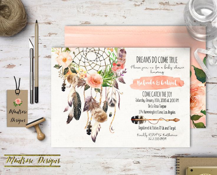 Boho Chic Watercolor Dream Catcher, Floral Baby Shower, Bridal Shower, Birthday Party Invitation (Peach, Pink, Feathers, Roses) DIGITAL FILE by montrosedesigns on Etsy