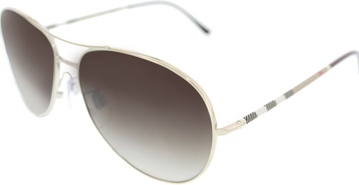 Burberry Women's Gradient BE3056-100213 Silver Aviator Sunglasses