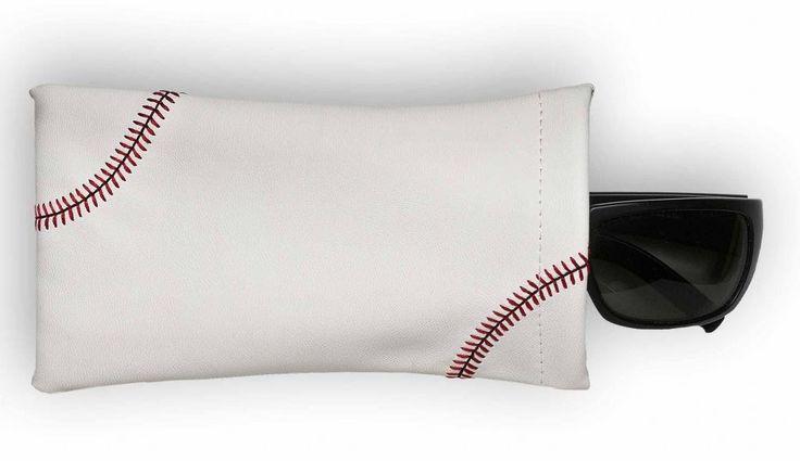 Baseball Sunglass Pouch - Actual baseball leather and feature red baseball stitching