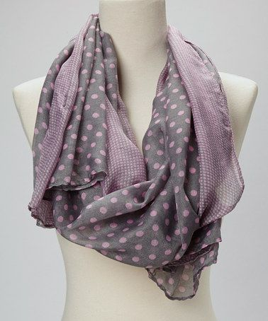 Take a look at this Gray & Pink Polka Dot Silk-Blend Scarf by Italmode on #zulily today!