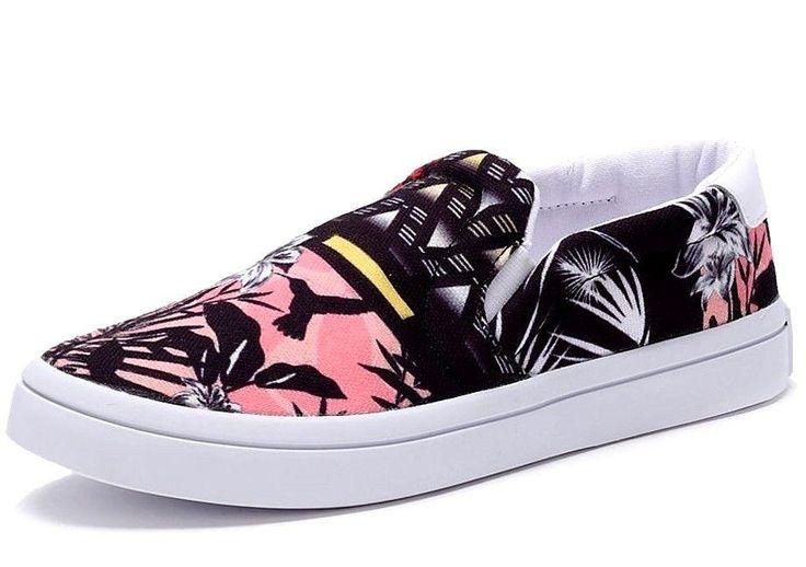 Adidas Originals Court Slip On Trainers Pumps Deck Shoes Floral Sizes 4.5 -7.5