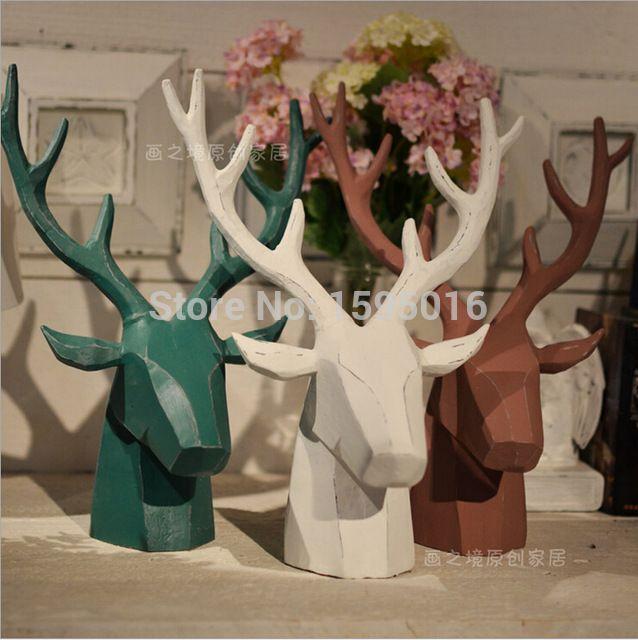 Головы оленя, украшения дома, смола головы оленя, лося лось карибу головы декора, творческий Nordic Европейский Канадский Квебек стены художественных промыслов