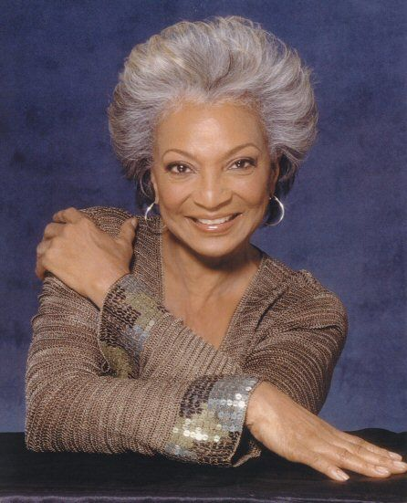 Star Trek Beauty - Nichelle Nichols, aka Lieutenant Uhura, communications officer on the original 60's 'Star Trek'. First black female NOT casted in a typical subservient role. She and Captain James Kirk, made history with first inter-racial kiss on national television in the '60's. (Born: December 28, 1932, Robbins, Illinois)