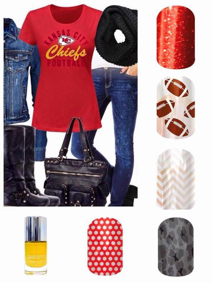 Are You Ready for Some Sports Jamberry Style? KC Chiefs football outfit with Jamberry Nails