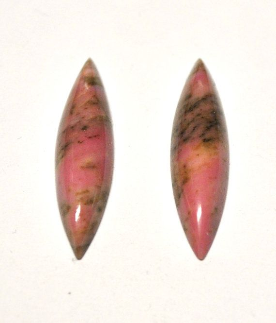 Natural Rhodonite Marquise Cabochons  Match Pair  by AliveGems