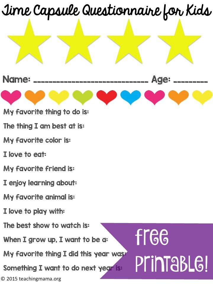 Time Capsule Questionnaire for Kids - free printable! Great for using at the end of the year, birthdays, or whenever!