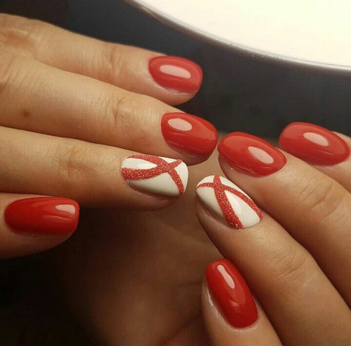 Birthday nails, Business nails, Manicure on the day of lovers, Nail designs with pattern, Nails for business lady, Perfect nails, Popular nails, Red and white nails