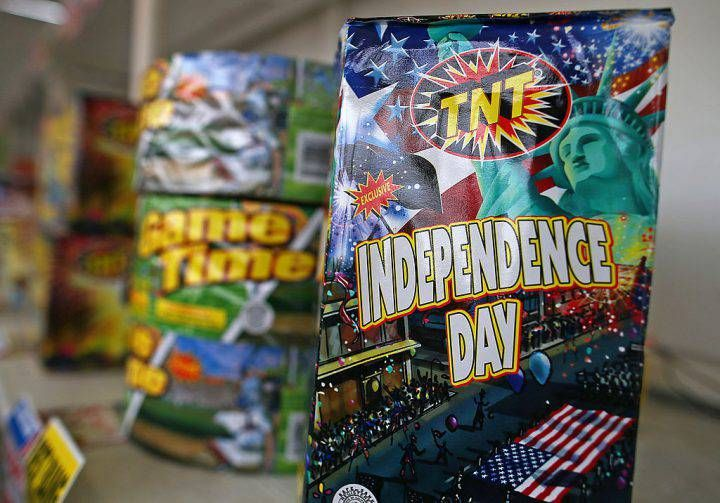 Fireworks are displayed at the Camp St. Andrews fireworks stand on July 3, 2014 in San Bruno, Calif.